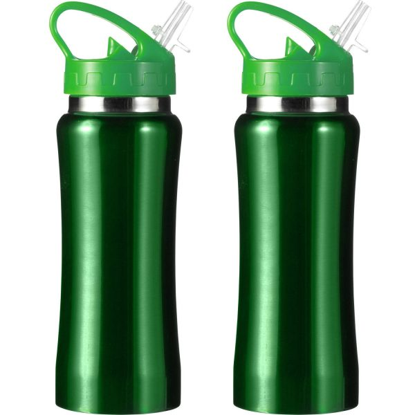 Set Van 2x Stuks Drinkfles/waterfles 600 Ml Metallic Groen Van Rvs - Sport Bidon Waterflessen