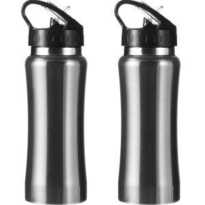 Set Van 2x Stuks Drinkfles/waterfles 600 Ml Metallic Zilver Van Rvs - Sport Bidon Waterflessen