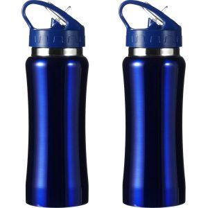 Set Van 2x Stuks Drinkfles/waterfles 600 Ml Metallic Blauw Van Rvs - Sport Bidon Waterflessen
